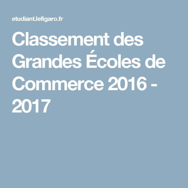 Classement des Grandes Écoles de Commerce 2016 - 2017
