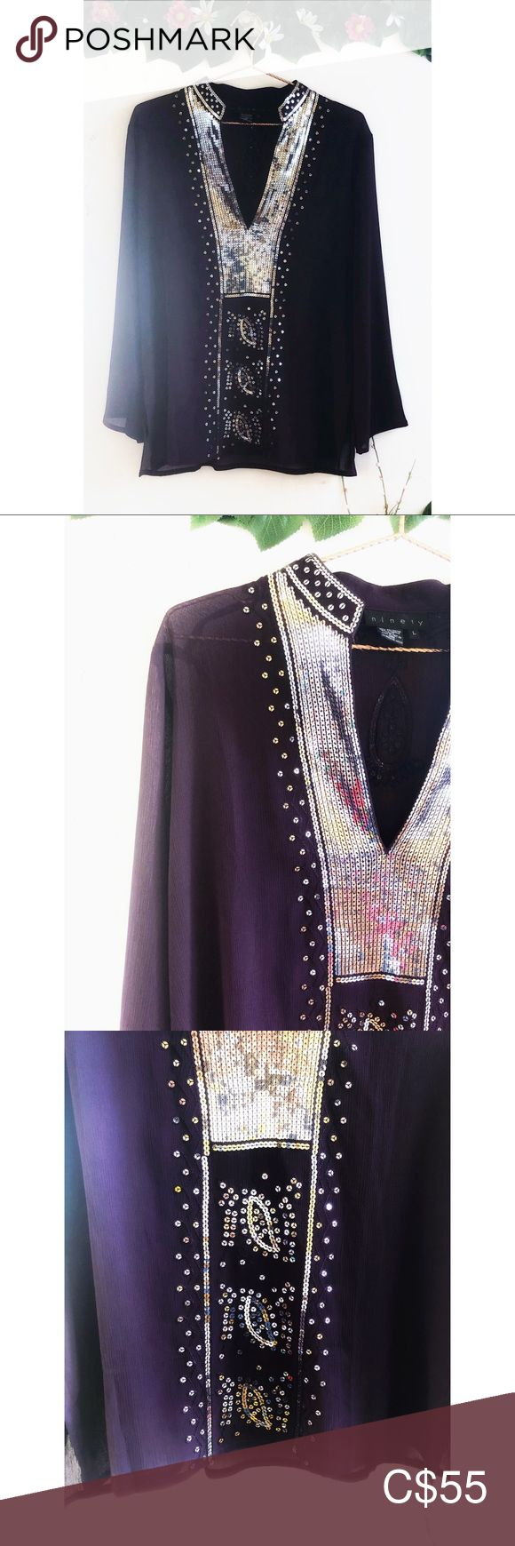 Ninety Clothing Purple Sequin Tunic This tunic is absolutely gorgeous. The sequi…