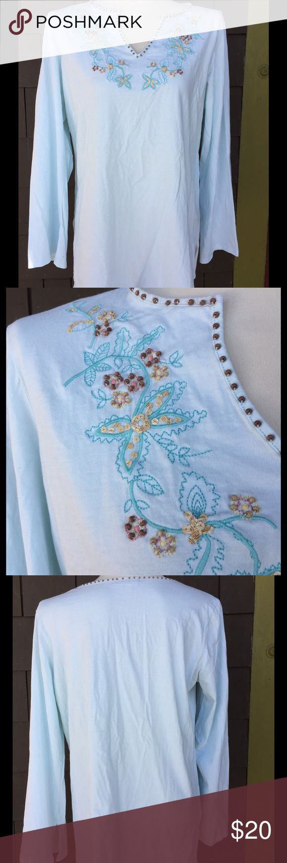 "J..Jill hippie top Pale mint green with great beaded and embroidered details make up this light weight tunic top. Beaded neckline follows all the way around the back. Great details. Flowey, flattering lines. 💯 % cotton. EUC. 22""p2p. 29"" long. J. Jill Tops"