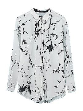 Shop White Tie Dye Roll Up Sleeve Loose Shirt from choies.com .Free shipping Worldwide.$15.99