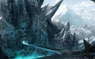 мост, вход, каменное, путники, горы, лицо, скалы, рот