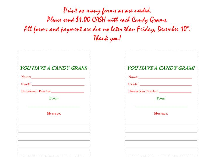 candy gram form valentine candy gram template view