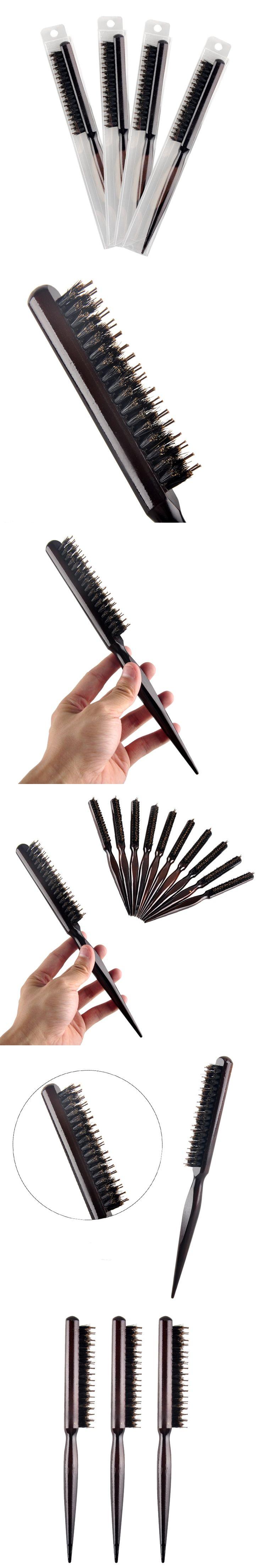 Women Girl's Wood Handle Natural Boar Bristle Hair Brush Fluffy Hair Comb Hairdressing Barber Tool