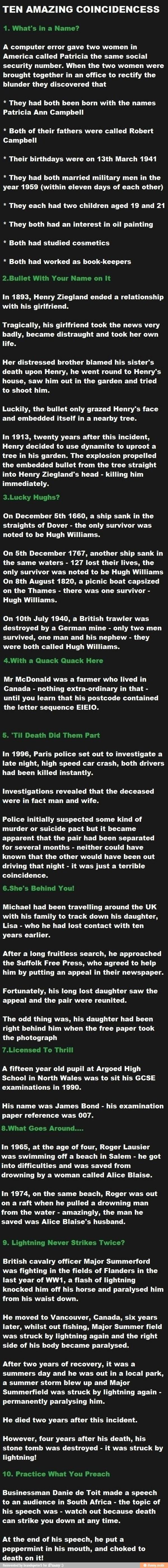 Ten Amazing Coincidences