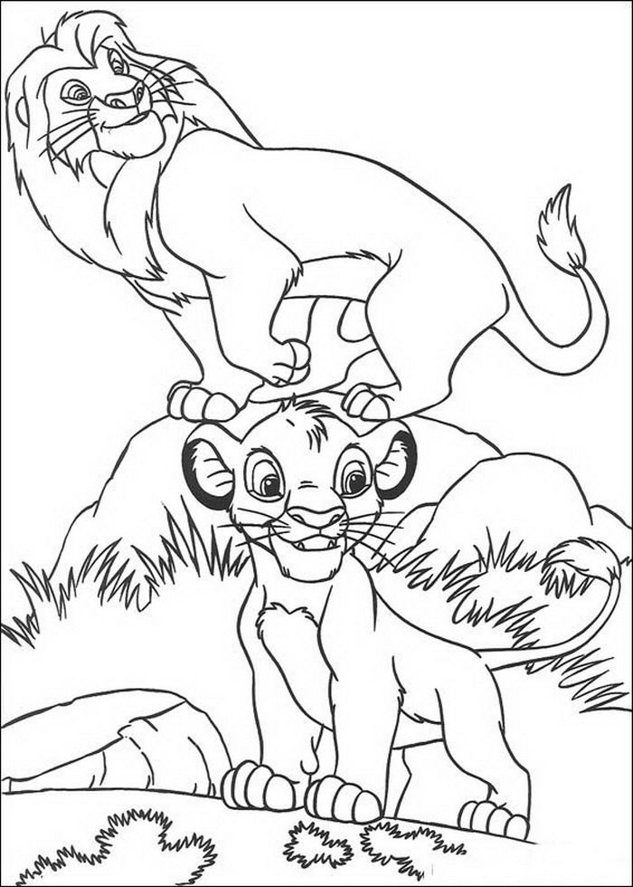 kleurplaat lion king of de leeuwenkoning simba en mufasa