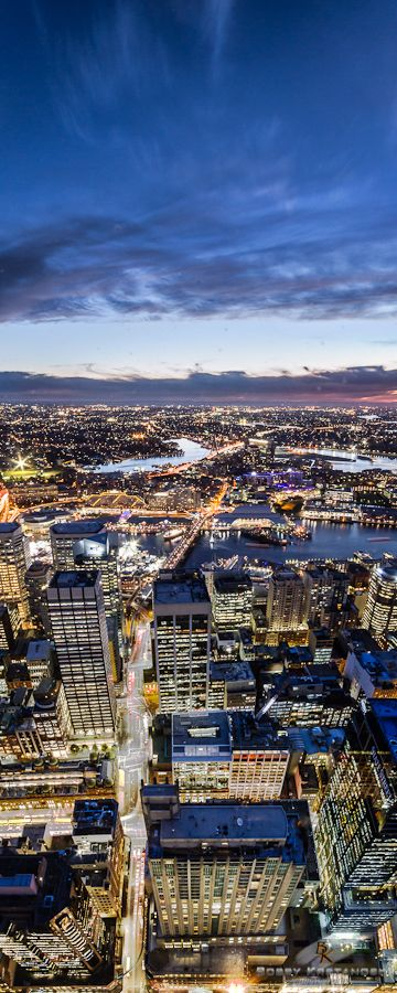 Sydney Tower view looking west over Darling Harbour -  Sydney, NSW