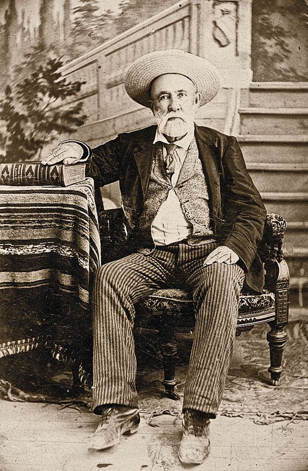 """Law West of the Pecos Roy Bean, shown in this circa 1895 cabinet card, famously proclaimed himself the """"Law West of the Pecos"""" and dispensed frontier justice from a Texas saloon."""