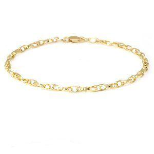 """14k Yellow Gold, Fancy Link Bracelet (7-1/2"""") Sea of Diamonds. $175.00"""