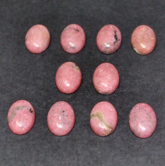 Natural Rhodonite Oval Cabochons  10 pcs Parcel  140 by AliveGems, $16.00