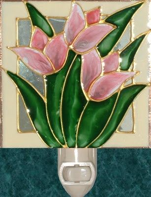 pinterest stain glass tulips | stain glass night lights