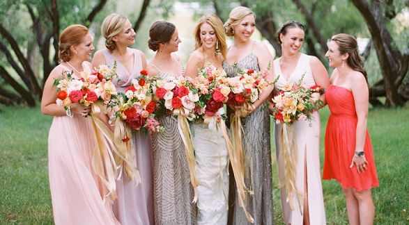 Bold shades of red, pink, peach and gold: http://www.stylemepretty.com/2014/11/25/colorful-colorado-farm-wedding/ … Photo: Brumley & Wells