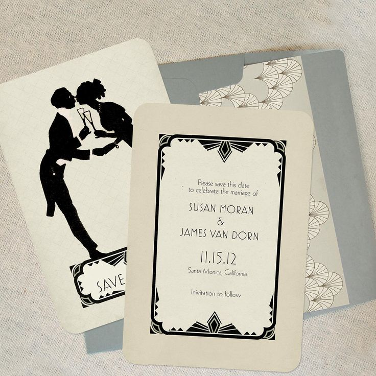Art Deco Vintage Save The Date Cards Or Wedding Invitations Nick And Nora Themed