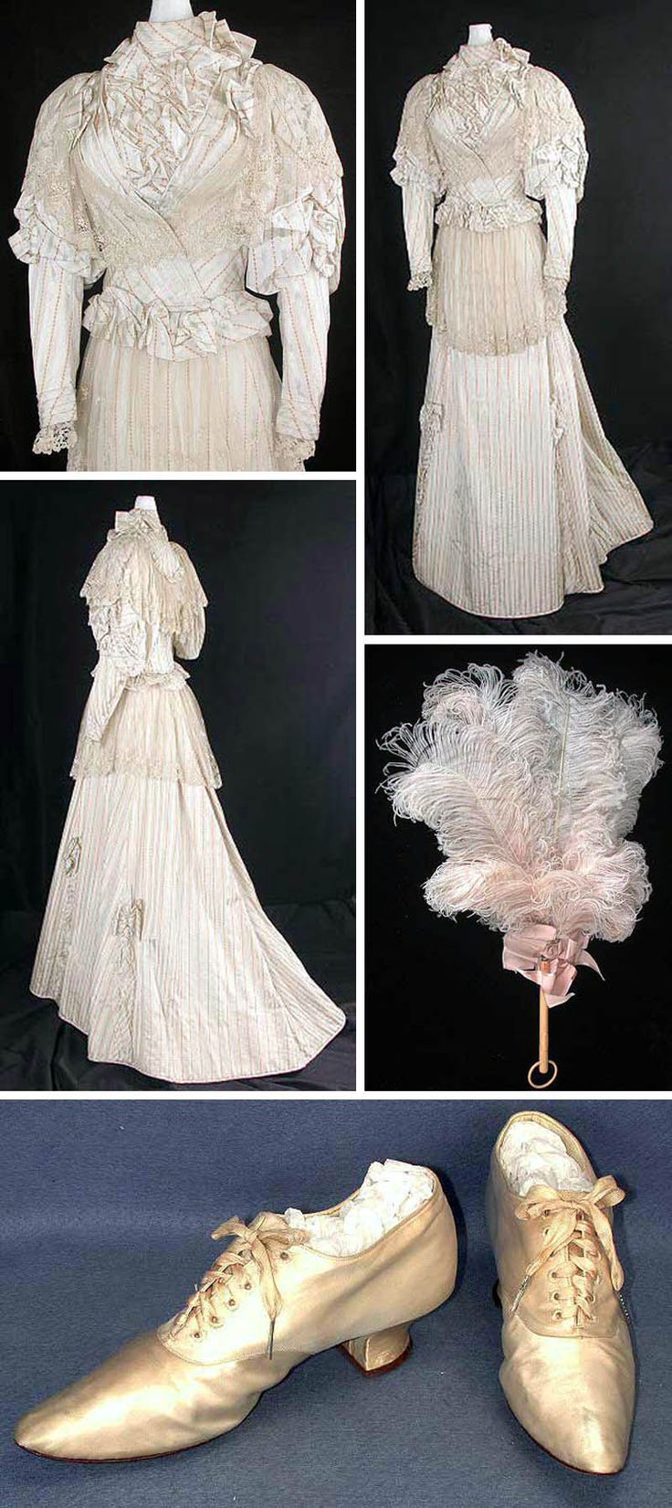 Worn by Frances E. Merrill (b. 1860) of Merton Township, Waukesha County, Wisconsin, at her wedding to Albert Rudberg, a veterinary surgeon, in 1893. The wedding probably was held in Chicago. Frances matched the fan to her off-white-, light blue-, and pink-striped wedding dress and off-white silk shoes. Wisconsin Historical Society