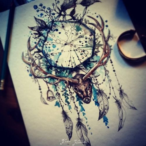 watercolor plants behind a rough dream catcher, yellow beads. No animal head.