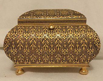 Damascene 24k Gold Jewelry Box-Juan Oliva Moreno- Vintage 1991