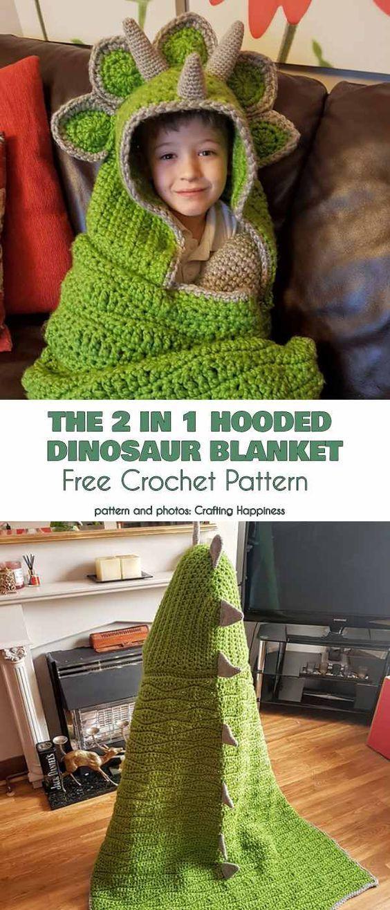 O 2 em 1 com capuz dinossauro cobertor crochet padrão