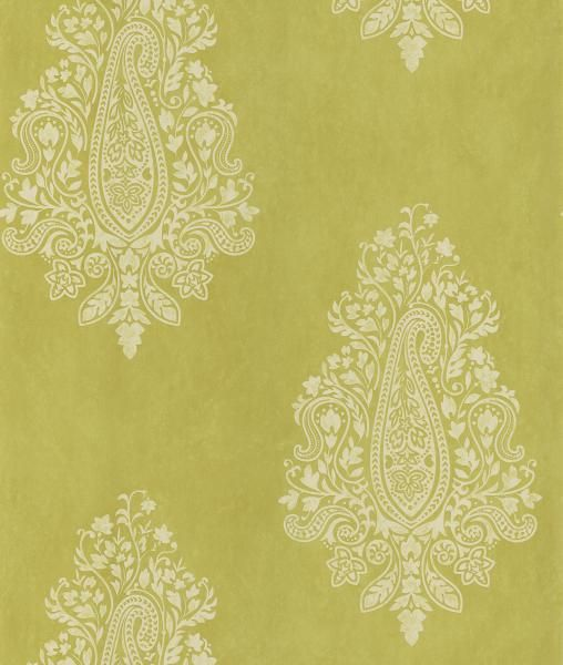 Mehndi Light Green Paisley - Wallpaper