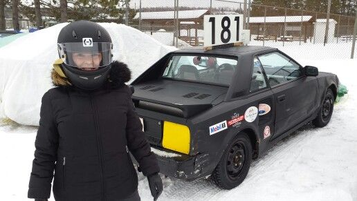 I jump in the passenger's seat of a race car and go ice racing.