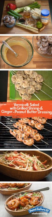 Vermicelli Salad with Grilled Shrimp & Ginger-Peanut Butter Dressing - This easy dinner has it all - slippery rice stick noodles, crunchy vegetables, fresh herbs, and marinated shrimp!
