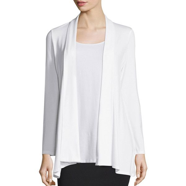 Eileen Fisher Long Kimono Cardigan (9,160 PHP) ❤ liked on Polyvore featuring tops, cardigans, white, long kimono, cardigan kimono, jersey cardigan, shawl collar cardigan and open front cardigan