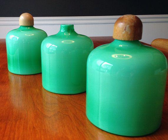 Three Scandinavian Mid Century handblown Cased glass by spruceup, $95.00