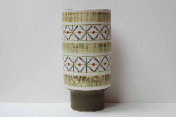 "Vintage Langley/Denby ""Sycamore"" stoneware pedestal vase by Glyn Colledge."