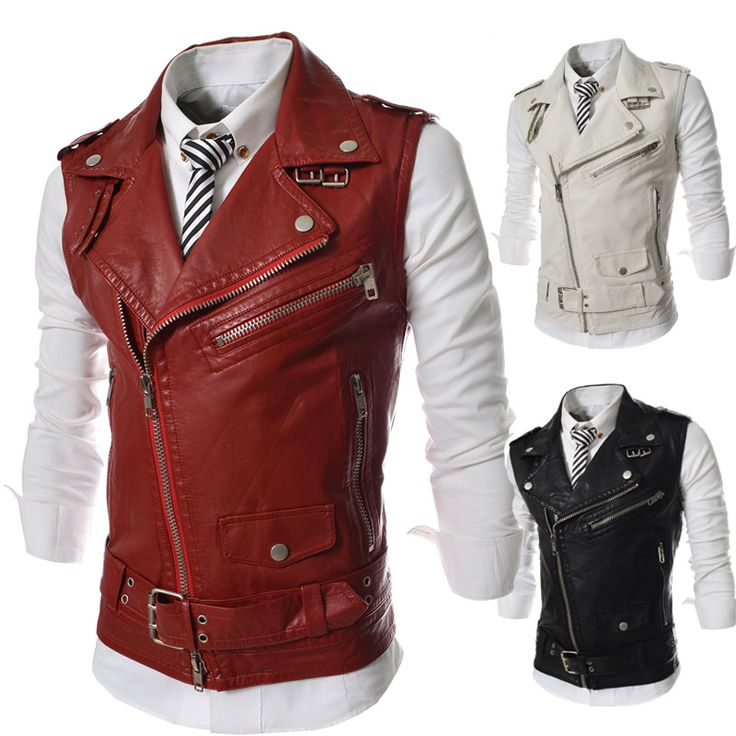 >> Click to Buy << Personalized Oblique Zipper Vest 2017 New Short Slim Fit Casual Vest Men Motorcycle Leather Waistcoat Black Red White #Affiliate