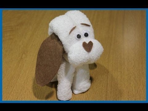 Cómo hacer un perrito de toalla para regalar en bautizos y baby showers - YouTube