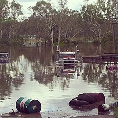 Australian Places and Event's - 2013 Logan River floods. A semi truck next to the river at North Maclean, Qld.