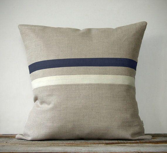 Navy Blue and Cream Striped Pillow (16x16) Nautical Home Decor by JillianReneDecor via Etsy