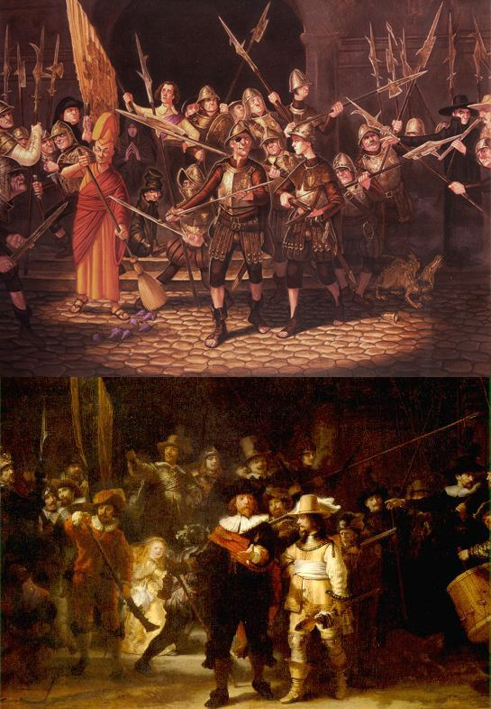Night Watch (Discworld version by Paul Kidby & the other version by some guy Rembrandt ;)