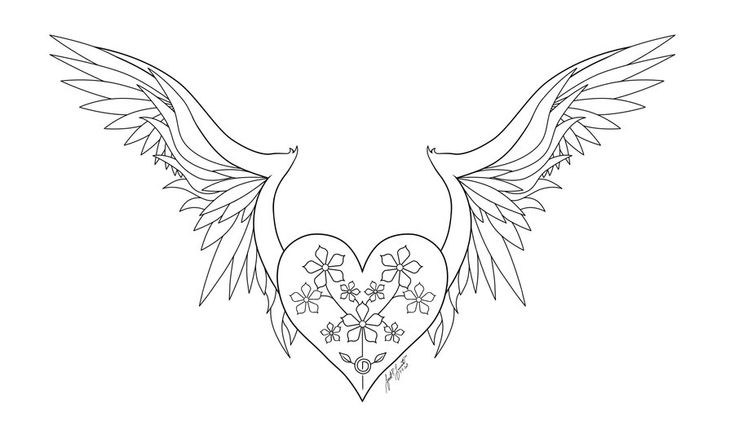 Heart With Wings Line Art by