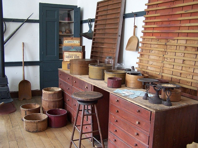 seed shop, pleasant hill shaker village (love the storage) the drawers and counter are awesome