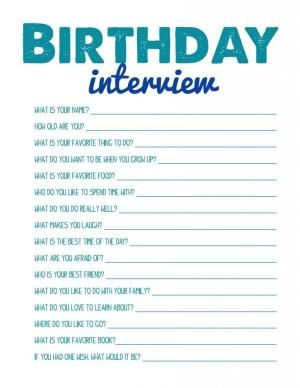 Birthday Interview FREE PRINTABLE by candy