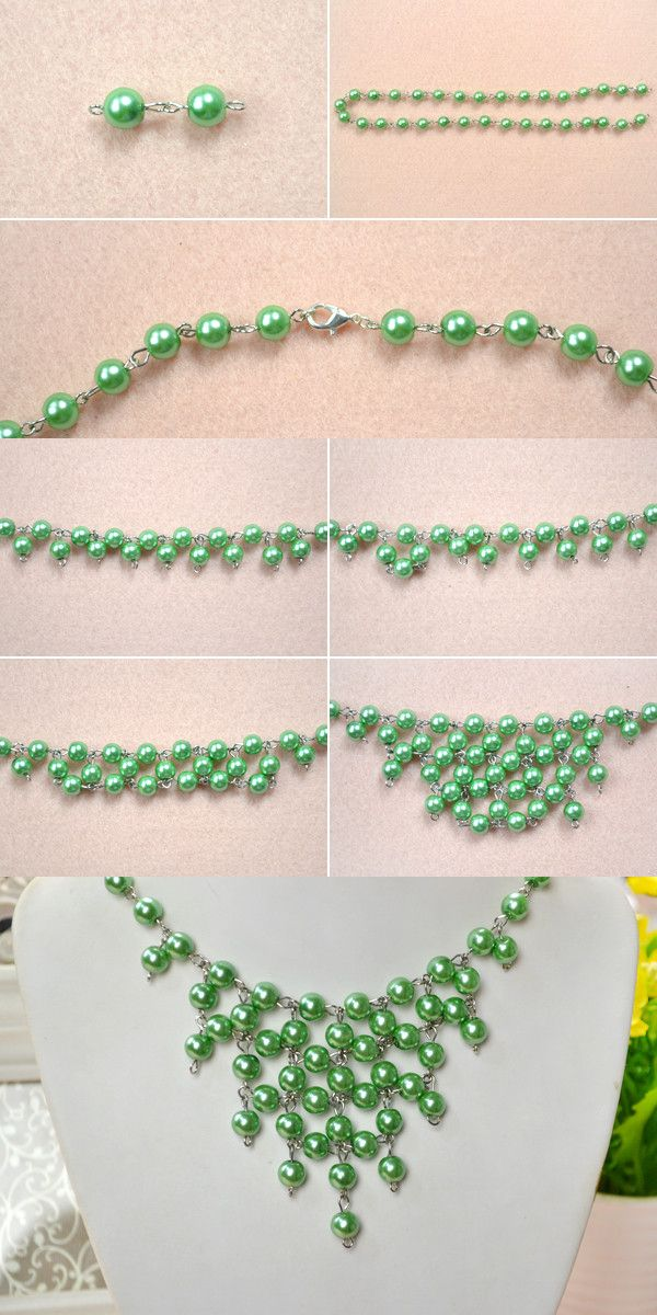 Tutorial for pearl statement necklace from LC.Pandahall.com
