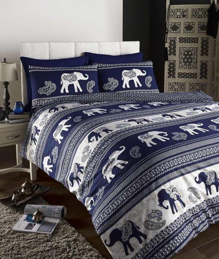 Empire Elephant Printed Animal Print Quilt/Duvet Cover Set Indigo / Navy, Fully Reversible (Double Bed): Amazon.co.uk: Kitchen & Home
