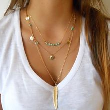 Colar em camadas Conjunto de 3 Verão Longo Colar de jóias Banhado A Ouro Simples Big Colar Pingente pena XL391(China (Mainland))