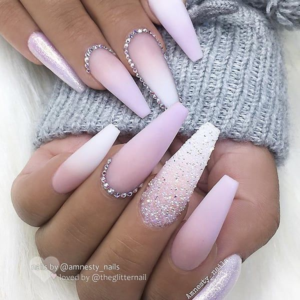 Matte Ombre Glitter Dust Pixie Crystals And Crystals On Long Coffin Nails Nail Design By Amn Matte White Nails Pink Ombre Nails White Acrylic Nails