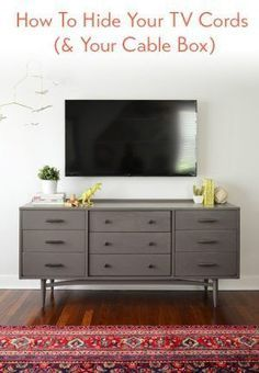 move TV to brick side of backroom, low couch in front of plants in window? swivel club chair in corner by fire place--How-To-Hide-Your-TV-Wires-and-Cable-Box
