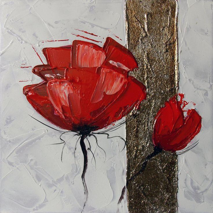peinture fleurs rouges abstraites : tableau fleur rouge.