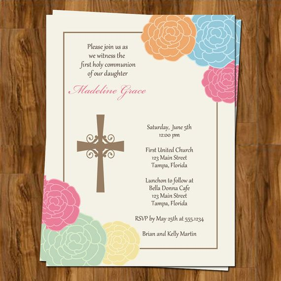 First Communion or Confirmation Invitations, Christening or Baptism Invites,  Set of 10 with Envelopes, Free shipping on Etsy, $7.50