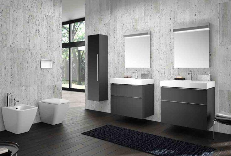 Pozzi-Ginori | Collezione Metrica composta da: specchio, lavabo, mobile sospeso grigio lava opaco, contenitore verticale con anta reversibile a specchio grigio lava opaco, vaso e bidet
