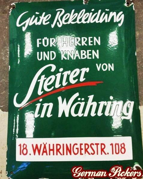 Steirer in Währing / Währingerstr. 108 - Emailschild  Einzelstück für Steirer Herrenausstatter  Wien - um 1930, gewölbt, 32 x 42 cm