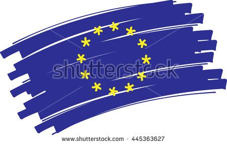 Flag of europe in a graphic version with brushstrokes