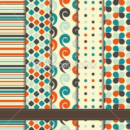 conjunto de patrones inconsútiles geométricos abstractos — Ilustración de stock #33814075