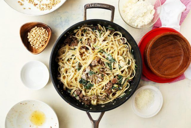 Creamed Spinach Pasta with Sausage and Pine Nuts | http
