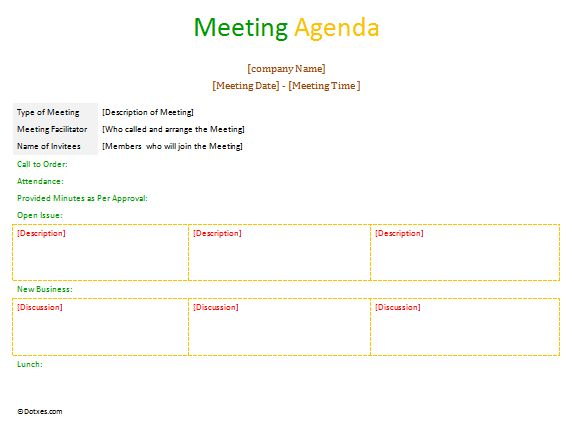 A formal meeting agenda in table format to improve your meetings - agenda format for meetings