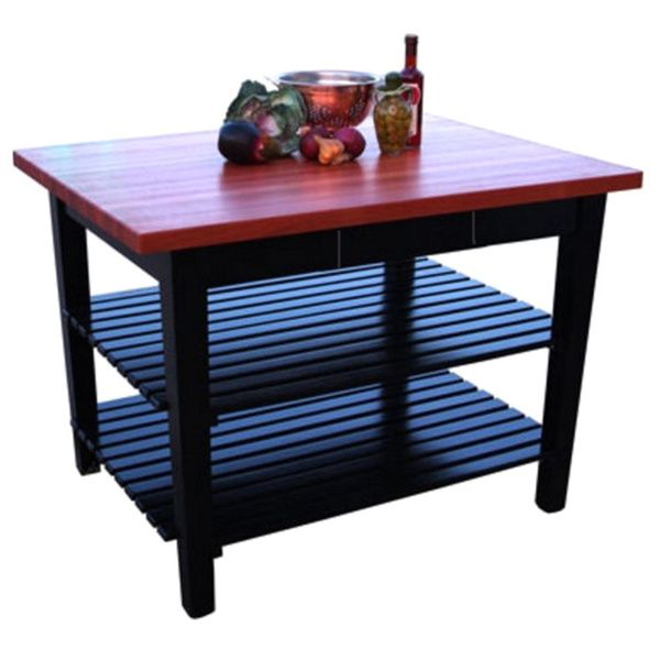John Boos Cherry RN-C3624-D-2S Butcher Block Table with Drawer and Shelves and Bonus 13-piece Henckels Knife Set