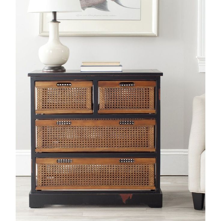 Safavieh Jackson Black 4-drawer Wicker Basket Storage Unit #Safavieh #CoffeeSofaEndTables