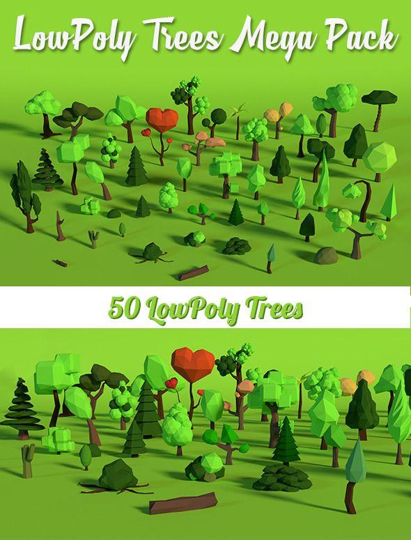 LowPoly Trees MegaPack Bundle